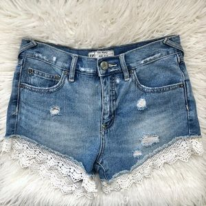 Free People Lace Trim Denim Shorts Distressed 24